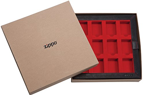 Zippo Leather Collectors for 12 Standard Lighters-Art-Nr.: 17549 Leder Display, Braun, 30 x 30 x 5 cm