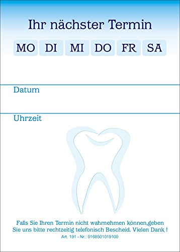 10 Terminblöcke mit je 50 Terminzettel, Terminblock tb191 Zahnarztpraxis in blau