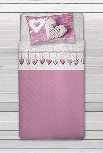 HomeLife Set Lenzuola Letto Singolo Cotone, Made in Italy | Completo Letto Lenzuola Cuore 1 Piazza Beige e Cuori Rosa | Lenzuolo sopra 160x300 + sotto con Angoli 90x200 + Federa 52x82 - Rosa, 1P