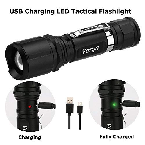 Tactical LED Flashlights1000LMWater ResistantZoomableHandheld Pocket Flashlight with USB