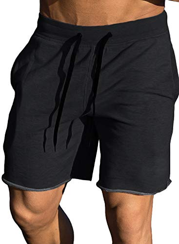 Ouber Men's Gym Workout Shorts Bodybuilding Running Training Jogging Pants (Black,M)