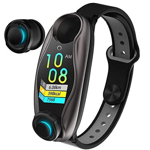 SAILORMJY Fitness Tracker,Fitness Armband,2 in 1 Bluetooth PopMovie Headset Schlafmonitor Kalorien Zähler Zähler Nachricht erinnern für Android IOS