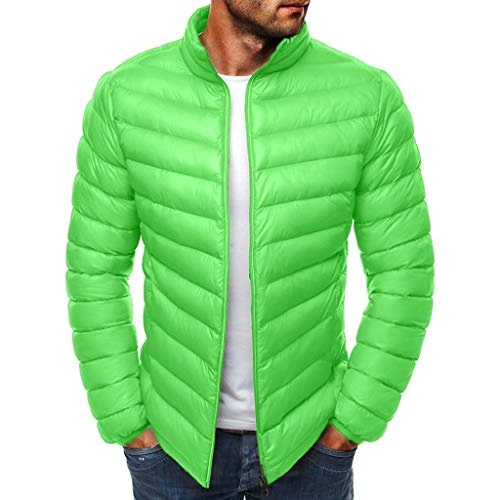 IZHH Men Parka Jacket Quilted Down Coat Zip Puffer Sherpa Jacket Solid Outwear(Green,3X-Large)