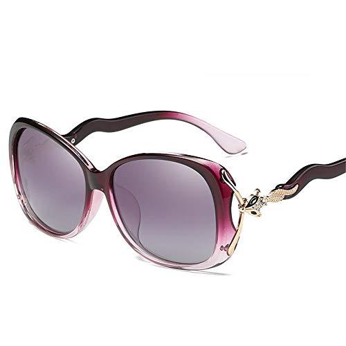 NgMik Gafas De Sol Polarizadas Señoras de Gafas de Sol polarizadas Diamond Head Fox conducción Gafas de Sol antideslumbrante de Compras Clásico (Color : Purple, Size : One Size)