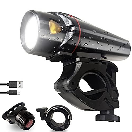 LED Fahrradlicht Set StVZO Zugelassen Fahrradbeleuchtung, 3 Lichtmodi und Intelligenter Sensormodus Fahrradlampe, IPX5 Wasserdicht Fahrrad Licht mit Frontlicht, Rücklicht und Fahrradklingel