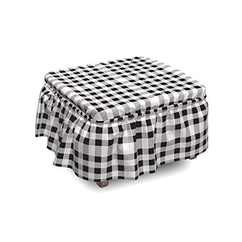 Lunarable Plaid Ottoman Cover, Monochrome Style Lumberjack, 2 Piece Slipcover Set with Ruffle Skirt for Square Round Cube Footstool Decorative Home Accent, Standard Size, Grey Black