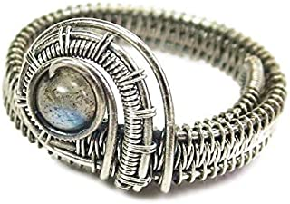 Labradorite Adjustable Ring, Woven in Sterling Silver Wire
