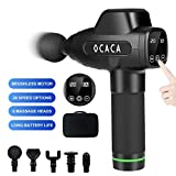 OCACA 2020 Upgraded Muscle Massage Gun, Handheld Deep Tissue Massager, Rechargeable Quiet Portable Massaging Gun for Athletes Pain Relief Therapy and Relaxation, 20 Speeds Adjustable, 5 Massage Heads