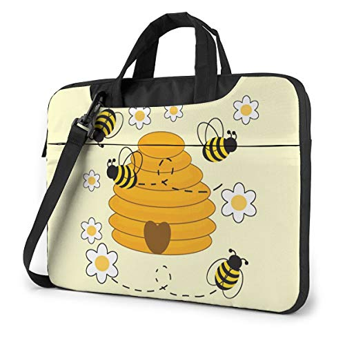 Laptop Shoulder Bag Carrying Laptop Case 15.6 Inch, Bee Print Computer Sleeve Cover with Handle, Business Briefcase Protective Bag for Ultrabook, MacBook, Asus, Samsung, Sony, Notebook