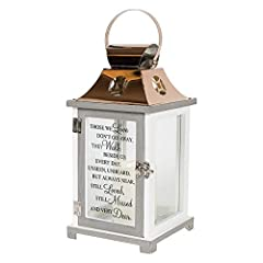 BEAUTIFUL MEMORIAL GIFT: Thoughtful memorial lantern gift for friends and family who have experienced loss DURABLE, WATER-PROOF MATERIAL: Made from quality composite wood and a stainless steel copper finish top AUTO ON/OFF TIMER: Built-in automatic t...