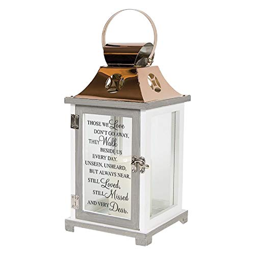 Carson Home Accents 57447 Walk Beside Us Memorial Remembrance Battery Powered Flameless Lantern with Automatic Timer, White/Copper