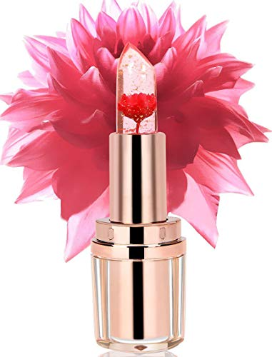 PrettyDiva Jelly Flower Lipstick  Crystal Agate PH Flower Lip Blam Moisturizer Lipstick Color Changing with Temperature Mood Lip Care Lipstick  Flame Red