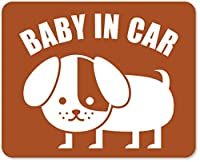 imoninn BABY in car ステッカー 【マグネットタイプ】 No.03 コイヌさん (茶色)