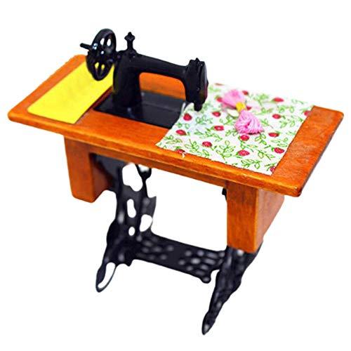 Accesorios para muebles de casa de muñecas, 1/12 mini muebles máquina de coser de madera con adorno de juguete de tela