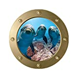 Vosarea 3D Sea Life - Adhesivo decorativo para pared, diseño de delfín y barco