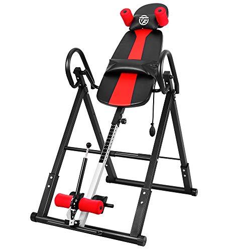ONETWOFIT Inversionstisch, robust, zusammenklappbar, mit Komfort-Rückenlehne, höhenverstellbar, zur Schmerzlinderung von Muskelschmerzen OT257