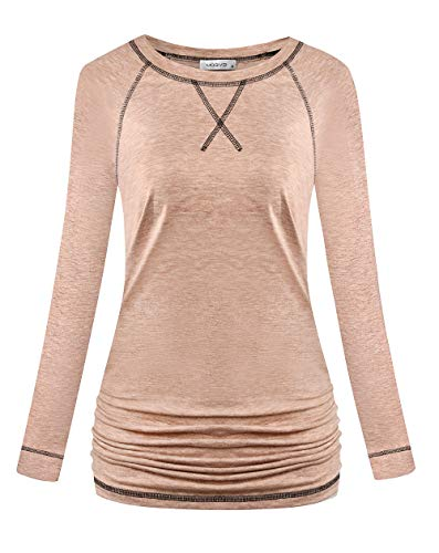 MOQIVGI Athleisure Womens Clothes Tops Long Sleeve Round Neck Fashion Casual Tshirts Autumn Winter Raglan Ruched Athletic Shirts to Wear with Leggings Apricot Large