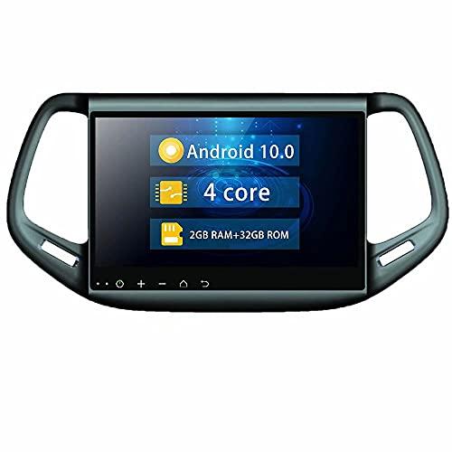 ROADYAKO 10.1 Pulgadas 2Din Android 10.0 Auto Navegación GPS Radio Estéreo de Coche para Jeep Compass 2016 2017 2018 2019 Soporte Multimedia para Coche SWC 4G WiFi Blutooth RDS FM Am