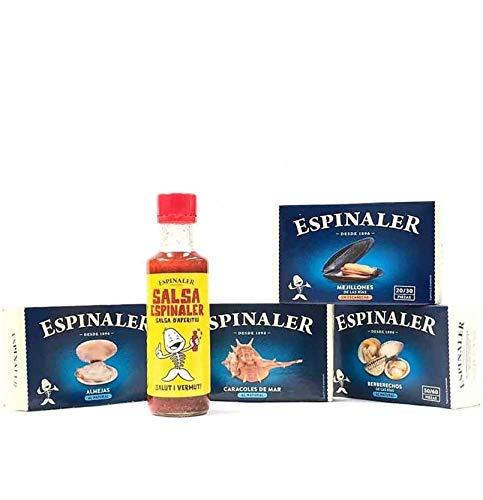 Pack Especiales Conservas Gourmet (Almejas, Berberechos, Mejillones,Caracoles, Salsa Espinaler) Selección El Paladar