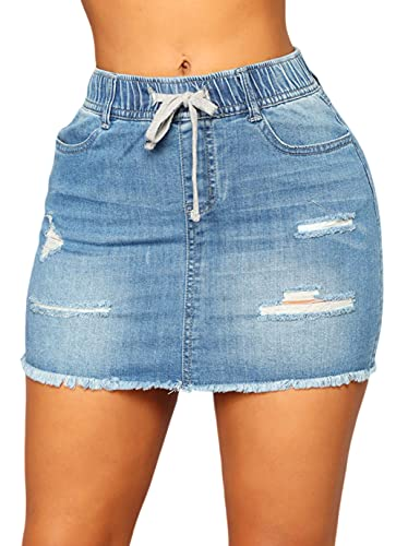 CHARTOU Women's Slim Elastic Waist Ripped Frayed Raw Hem Denim Jean Short Skirt (Medium,Blue)