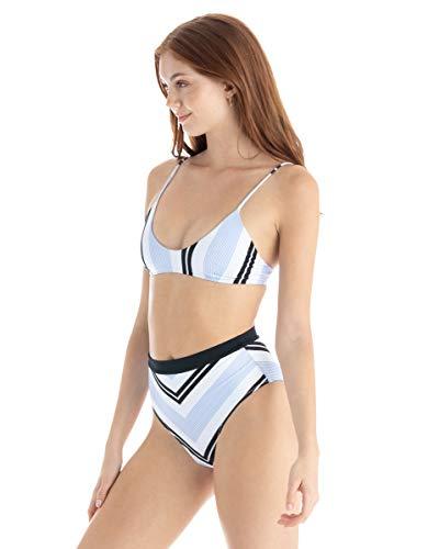 Tavik Jude Periwinkle Stripe High Waist Bikini Bottoms, Blue, Small