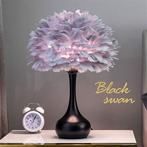YAOXI Rosa Federtischlampe Für Lounge, Mädchen Graue Feder Nachttischlampe Für Schlafzimmer Weißer Federlampenschirm Tischlampe Für Wohnzimmer,Grau,Touch Switch