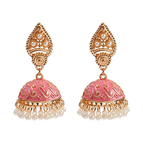 allforyou Pendientes de jhumka Turco geométrico Retro étnico para Las Mujeres Indian Jewelry Flower Bell Bell Bella Pendientes Colgantes