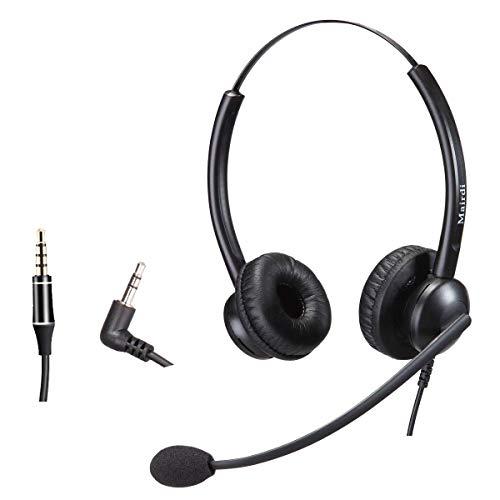 MAIRDI 2,5mm Telefon Headset mit Noise Cancelling Mikrofon Dual Festnetztelefone Kopfhörer für Panasonic Cisco SPA Siemens Gigaset Polycom DECT Schnurlostelefon