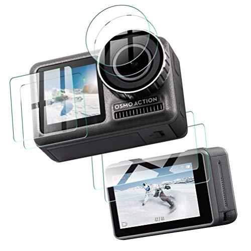 SLEO [6 stuks/2 set] pantserglas beschermfolie voor DJI OSMO Action Camera, 9H transparante displaybeschermfolie beschermfolie + objectief bescherming beschermfolie