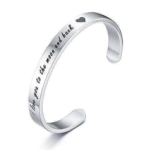 VNOX Edelstahl inspirierende Zitate Armbänder Ich Liebe Dich bis zum Mond und zurück graviert Manschette Armreif Silber