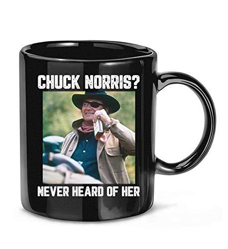 TERICK BIKERY Chuck #Norris Never Heard of Her Retro #John Lovers #Wayne cast #Cowboy Funny Coffee Mug for Women and Men Tea Cups