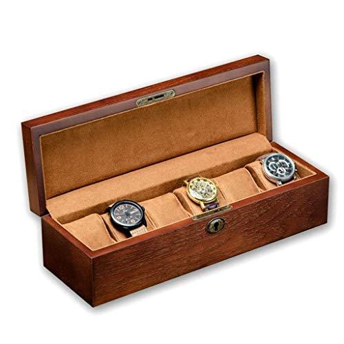 GYDSSH Joyero de madera caja de reloj-6 anchos miran ranuras caja de madera del reloj del organizador del almacenaje, la vendimia caja de reloj de los hombres de -Business regalo, joyería Caja de alma