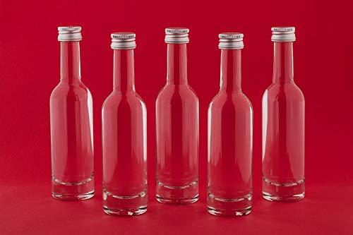 casa-vetro 30 of 60 stuks kleine glazen flessen 50 ml BOR-50 ml SCHROUVERSCHEIDINGSING mini flesjes wijnflessen flessen om zelf te vullen 0,05 liter jeneverflessen azijn-olie miniatuur glazen flesjes