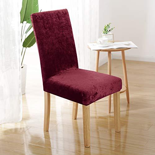 UMI. by Amazon - Fundas para sillas de Comedor elásticas Suave Rojo(Juego de 2)