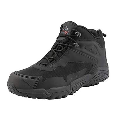 NORTIV 8 Men's Waterproof Hiking Boots Lightweight Mid Ankle Trekking Outdoor Tactical Combat Boots Black Size 12 M US JS19001M