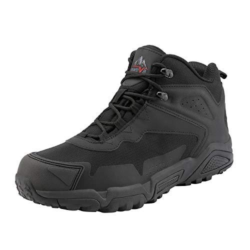NORTIV 8 Men's Waterproof Hiking Boots Lightweight Mid Ankle Trekking Outdoor Tactical Combat Boots Black Size 6.5 US JS19001M