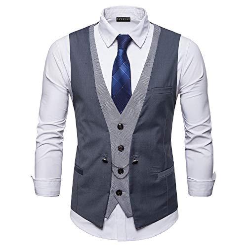 YCUEUST Chaleco Hombre de Vestir Traje Boda Ceremonia Waistcoat Blazers Sin Mangas Gris Large