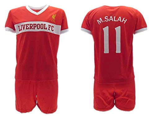 Completo Ufficiale Salah Liverpool Home 2018 in Blister Maglia + Pantaloncini Mohamed Bimbo Bambino (4 Anni)