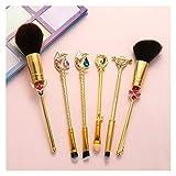 JSJJAET Brocha de Maquillaje Pinceles de Maquillaje Set 6pcs Kit de Herramientas de Maquillaje Cristal Decoración Negro Suave Pelo sintético cosmético con Pincel (Handle Color : Sailor Moon Gold)