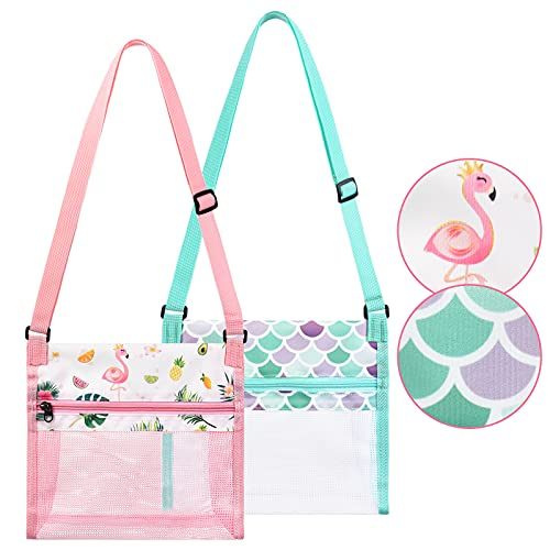 """WERNNSAI Seashell Beach Bags - 2 Packs 9.4"""" x 9.8"""" Shell Mesh Bags for Kids Girls Beach Toy Bags Sand Away Summer Vacation Flamingo Mermaid Shell Bags with Adjustable Carrying Straps and Zipper"""