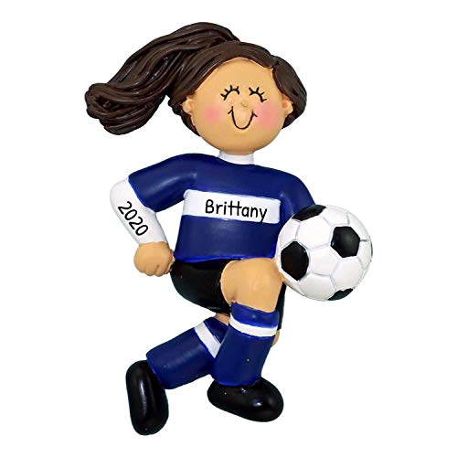 Personalized Soccer Child Christmas Tree Ornament 2020 - Little Brunette Girl Blue Uniform Team Player Gift Active School Year Score Hobby Grand-Daughter Holiday Tradition - Free Customization