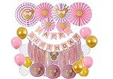 Lista de histudio para bebés, decoración de cumpleaños, fiesta Ki Minnie Mouse, temed Party Decor Minnie Pom Poms Papel Flores Fan de Papel Farolillos Globos de Fan de Happy Birthday y Decoraciones