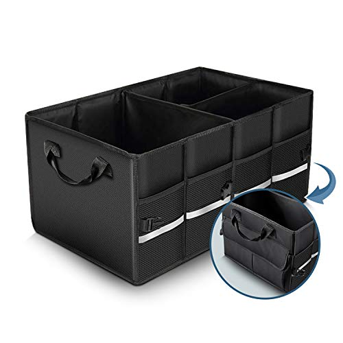 Multifunctional Car Organizer with 2 Flexible Compartments, Large Collapsible and Waterproof Cargo Box, Trunk Tool Boxes with Non Slip Bottom, Durable Base Plates, Detachable Divide for SUV, Groceries