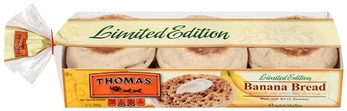 LIMITED EDITION THOMAS' Banana Bread ENGLISH MUFFINS - 6 COUNT PACKAGE