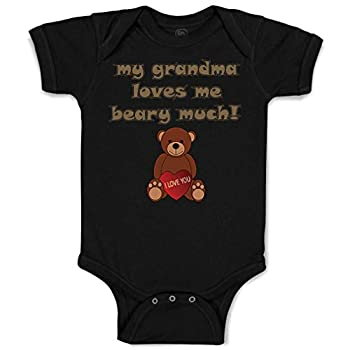 Custom Baby Bodysuit My Grandma Loves Me Beary Much! Grandmother Funny Cotton Boy & Girl Baby Clothes Black Design Only Newborn