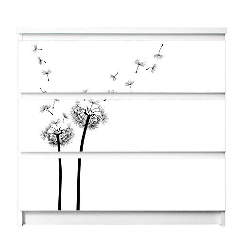 banjado Möbelaufkleber für Kinder-Zimmer | Selbstklebende Möbelfolie passend für IKEA Malm Kommode | Wandtattoo Deko mit Design Pusteblume 2 für 3 Schubladen