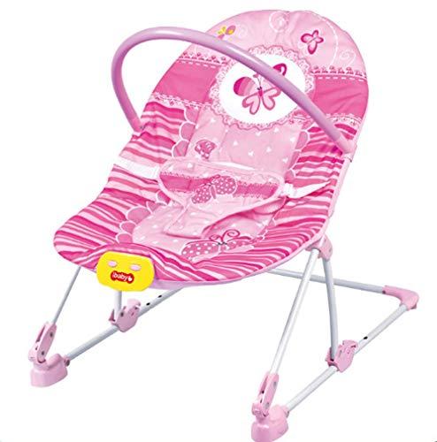 ZWQ kids Fauteuil inclinable à siège pivotant et à Vibrations pour bébé Bouncers and Rockers, Melodies Musicales, pour Fille de bébé à l'enfant en Bas âge, Rose