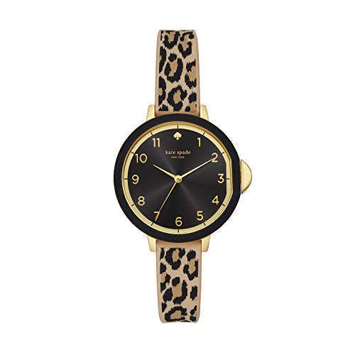 Kate Spade New York Women's Park Row Quartz Metal, Silicone Three-Hand Watch, Color: Gold, Leopard Print (Model: KSW1485)