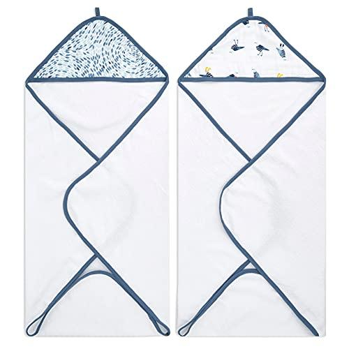 aden + anais™ Essentials - Pack de 2 Capes de Bain à Capuche en éponge prélavée 100% Coton - Capuche en Mousseline 100% Coton - Douce - Pratique - Garçon - Fille - Imprimé Seashore - 90 cm x 90 cm