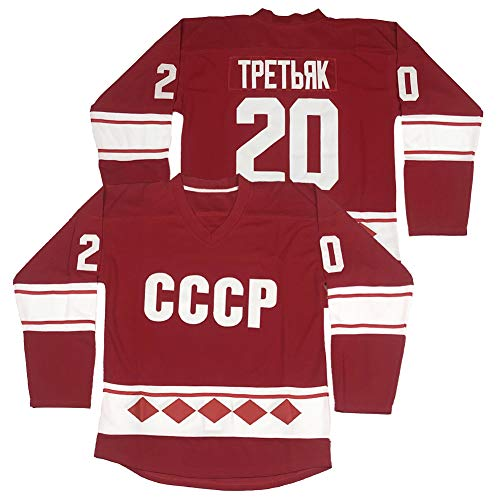 Men's #20 Vladislav Tretiak 1980 CCCP Russia Ice Hockey Jerseys Stitched Size XXL